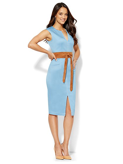 Topstitched Sheath Dress - Light Blue  - New York & Company