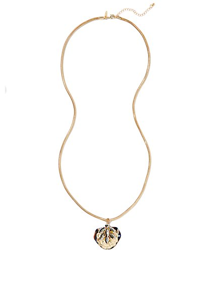 Tortoise-Pendant Necklace - New York & Company