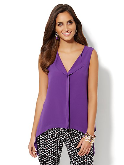 Trapeze-Hem Sleeveless Blouse  - New York & Company