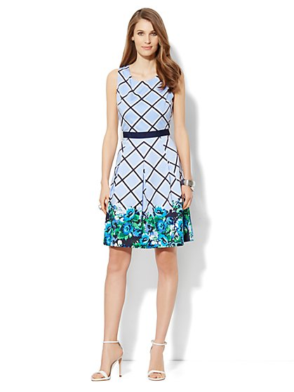 Trellis-Print Fit & Flare Dress