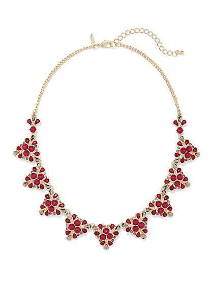 Triangular Beaded Collar Necklace  - New York & Company