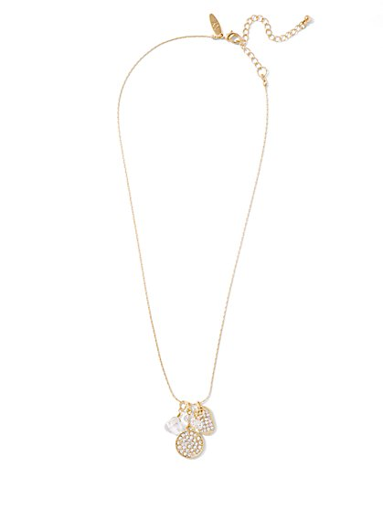 Triple-Charm Pendant Necklace  - New York & Company
