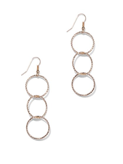 Triple-Circle Drop Earrings  - New York & Company