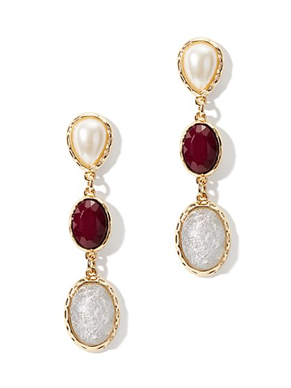 Triple-Drop Stones Earring