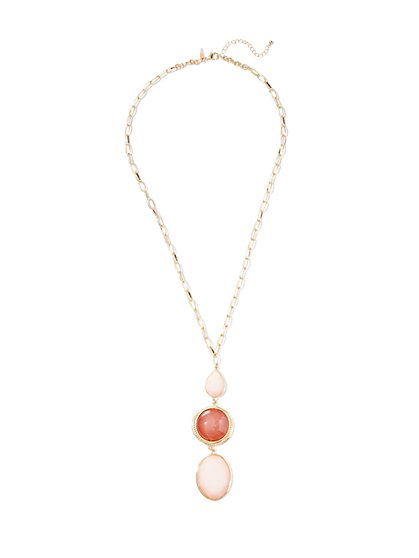Triple Faux-Stone Pendant Necklace  - New York & Company