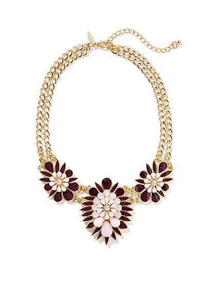 Triple-Floral Link Necklace - New York & Company
