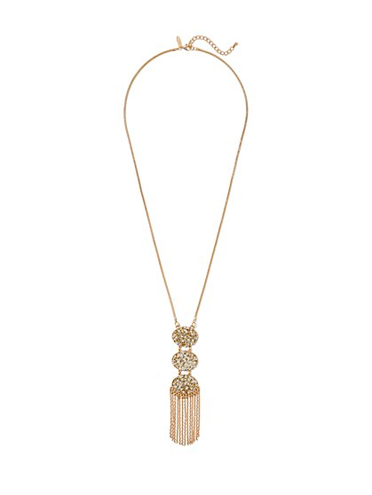 Triple Oval & Fringe Pendant Necklace  - New York & Company