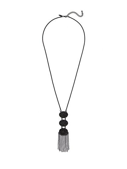 Triple Oval & Fringe Pendant Necklace  - New York & Company