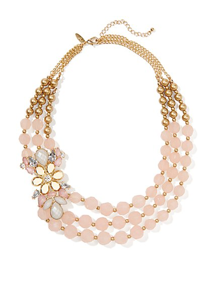 Triple-Row Beaded & Floral Necklace