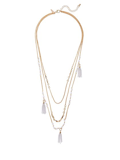 Triple-Row Beaded Tassel Necklace  - New York & Company
