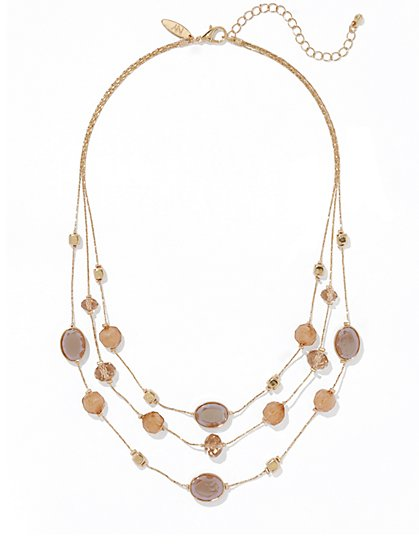 Triple-Row Faceted Bead Necklace  - New York & Company