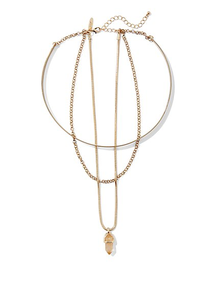 Triple-Row Faux-Crystal Pendant Necklace  - New York & Company