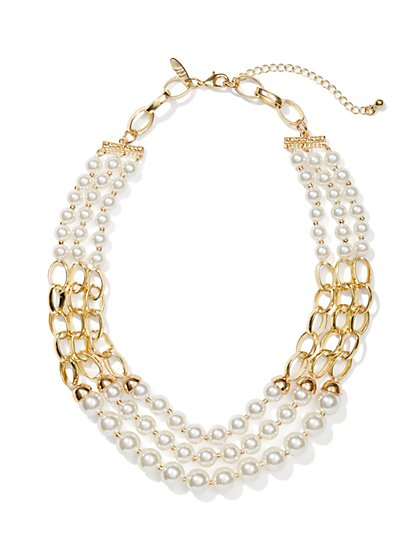 Triple-Row Pearl Chain Necklace - New York & Company