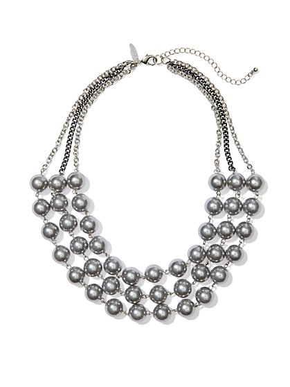 Triple-Row Pearl Necklace - New York & Company