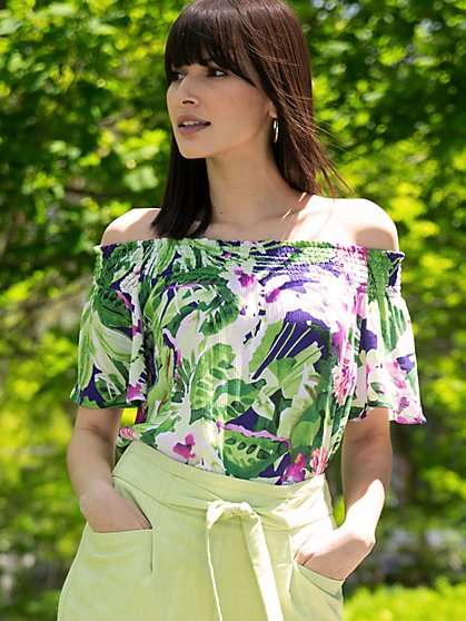 Tropical-Print Off-The-Shoulder Top - New York & Company