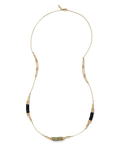 Tubular-Accent Station Necklace   - New York & Company