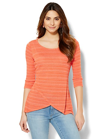 Tulip-Hem Top - Stripe  - New York & Company
