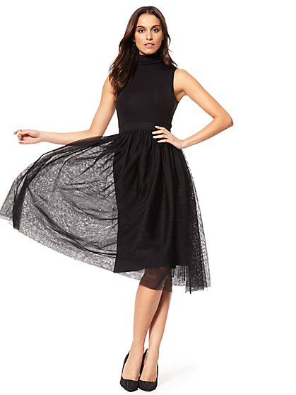 Tulle Sleeveless Turtleneck Dress - New York & Company