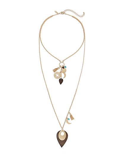 Turquoise Accent Two-Row Necklace  - New York & Company