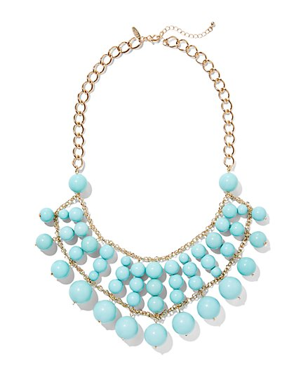 Turquoise Beaded Bib Necklace   - New York & Company