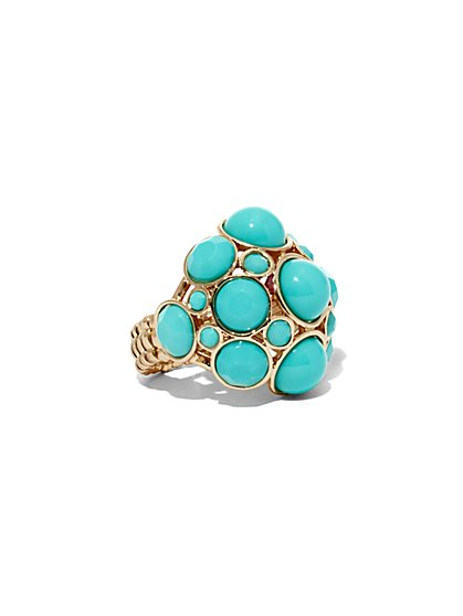Turquoise Faux-Stone Cocktail Ring  - New York & Company