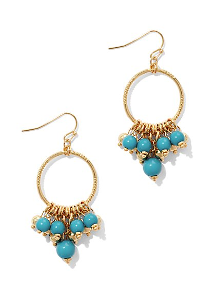 Turquoise-Hued Beaded Drop Earring  - New York & Company