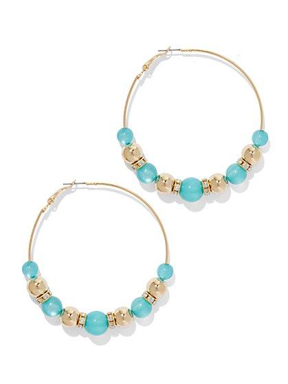 Turquoise-Hued Beaded Hoop Earring  - New York & Company
