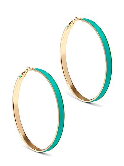 Turquoise-Hued Enamel Hoop Earring  - New York & Company