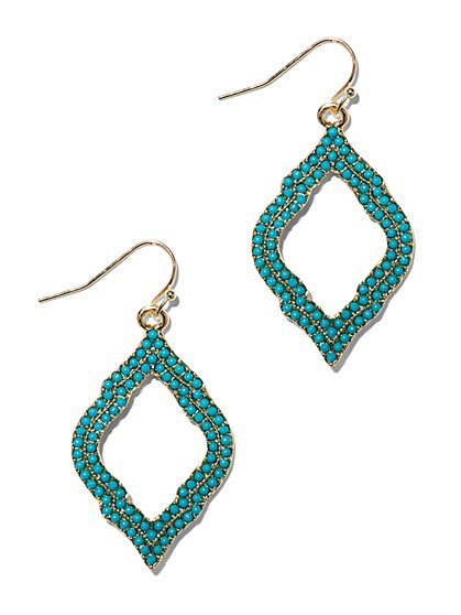 Turquoise Open-Drop Earring  - New York & Company