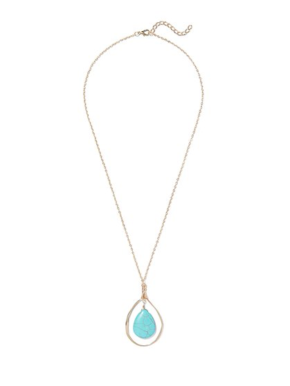 Turquoise Teardrop Pendant Necklace  - New York & Company