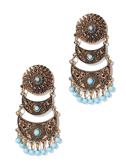 Turquoise Triple-Drop Earring  - New York & Company