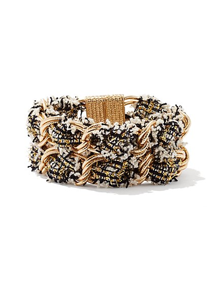 Tweed-Accent Chain-Link Bracelet  - New York & Company
