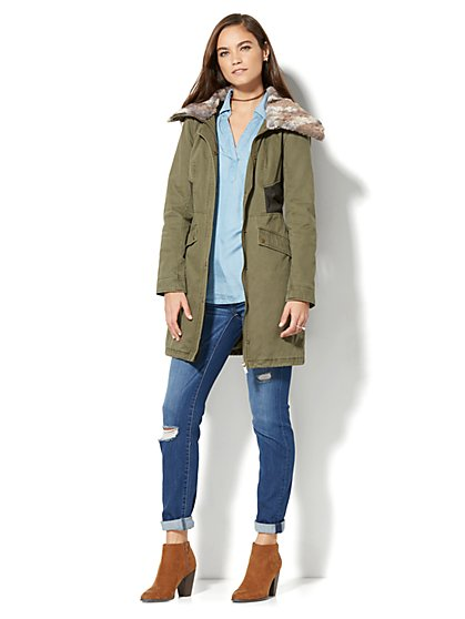 Twill Anorak With Faux Fur Collar - New York & Company