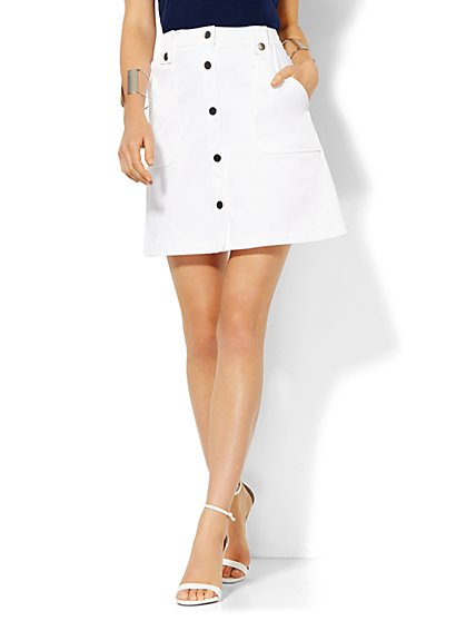 Twill Two-Pocket Miniskirt - Optic White  - New York & Company