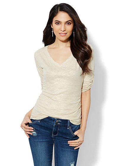 Twist-Detail Shimmer V-Neck Top  - New York & Company