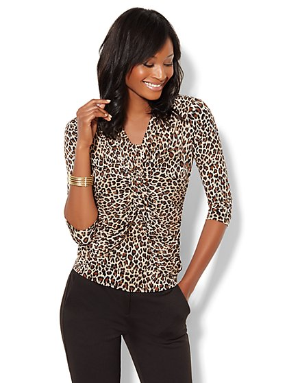 Twist-Front Knit Top - Leopard Print - New York & Company
