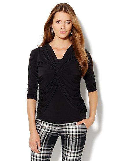 Twist-Front Knit Top - Leopard Print - New York & Company