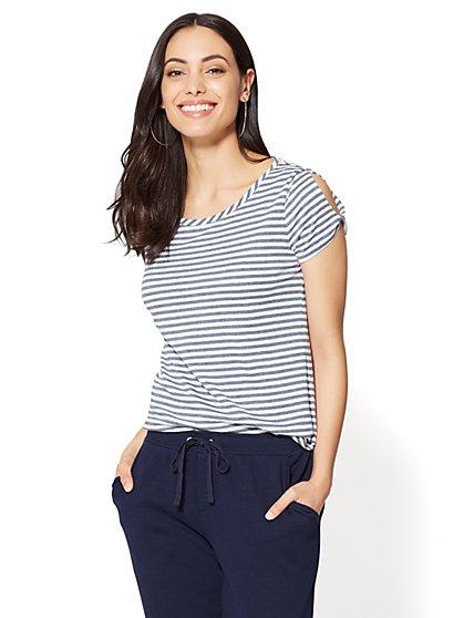 Twist-Sleeve Scoopneck Tee - Stripe - New York & Company