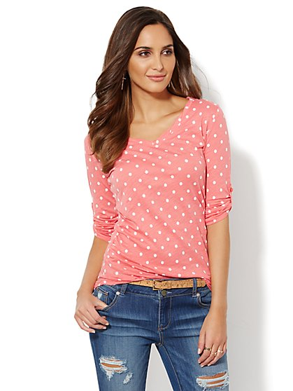 Twist V-Neck Top - Polka Dot  - New York & Company