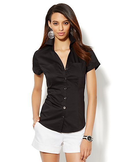 Two-Pocket Cap-Sleeve Shirt