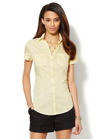 Two-Pocket Cap-Sleeve Shirt - New York & Company