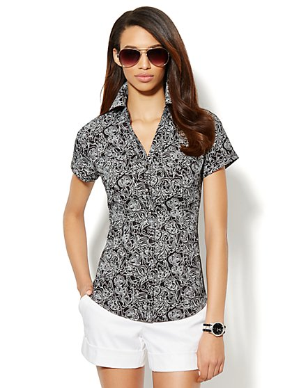 Two-Pocket Floral-Print Shirt