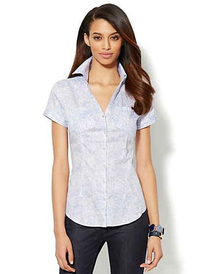 Two-Pocket Floral-Print Shirt  - New York & Company