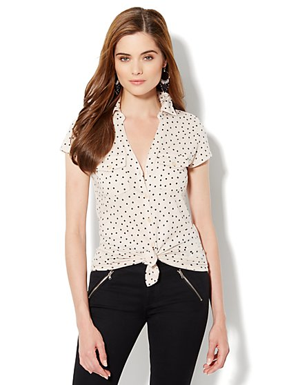 Two-Pocket Knit Shirt - Polka-Dot Print