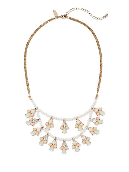 Two-Row Beaded Bib Necklace  - New York & Company