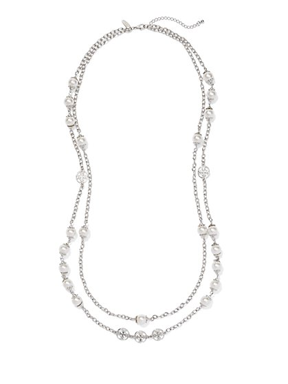 Two-Row Chain & Pearl Necklace  - New York & Company