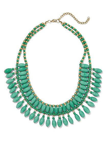 Two-Row Faux-Turquoise Necklace  - New York & Company