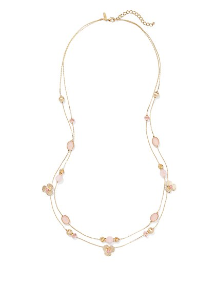 Two-Row Floral & Beads Necklace  - New York & Company