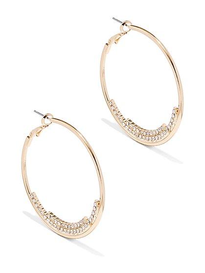 Two-Row Pavé Hoop Earring    - New York & Company