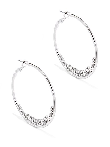 Two-Row Pavé Hoop Earring    - New York & Company